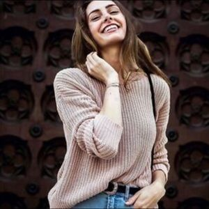 Brandy Melville Pink Nude Knit Pullover Sweater